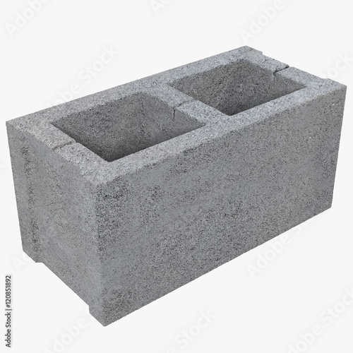 Foto Single Gray Concrete Cinder Block Isolated on White 3D Illustration