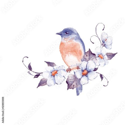 ladny-maly-ptak-z-kwiatami