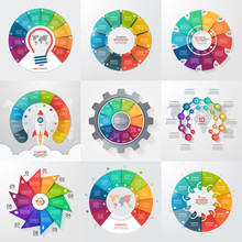 Set Of 9 Circle Infographic Templates With 10 Options, Steps, Parts, Processes. Business Concept For Graphs, Charts, Diagrams. Vector Illustration.