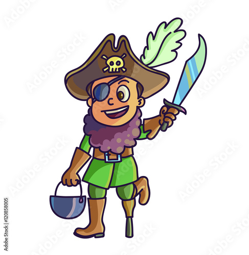 Fotobehang Piraten Happy halloween. Cartoon cute child in costume pirate