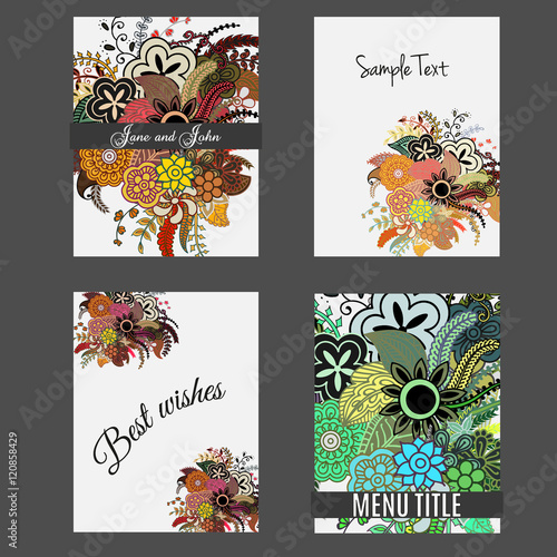 Set Of Perfect Wedding Templates With Doodles Tribal Theme Ideal