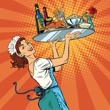 Beautiful Young Woman Waitress...
