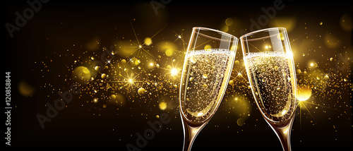 Fotografie, Obraz  Glasses of champagne with bokeh effect
