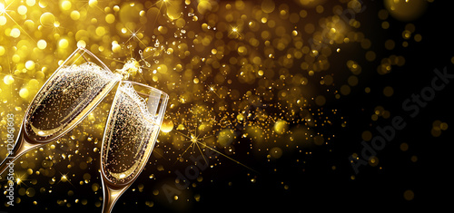 Slika na platnu Glasses of champagne with bokeh effect