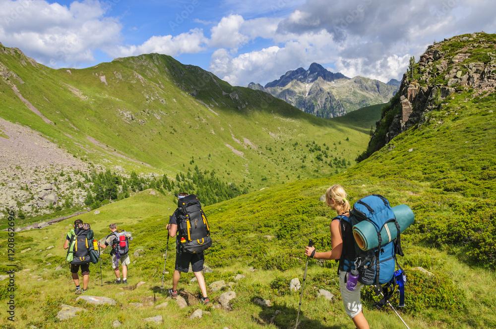 Fototapety, obrazy: Wandergruppe im Lagorai-Massiv