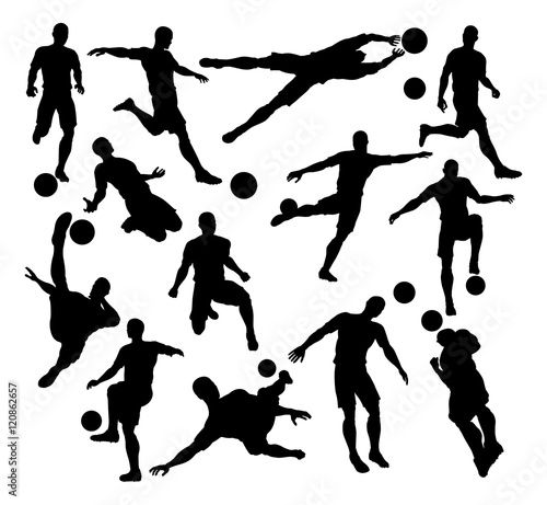 Leinwand Poster Football Soccer Player Silhouettes