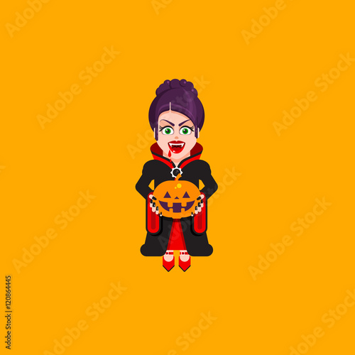 Fotografie, Obraz  Vampire woman character for halloween in a flat style