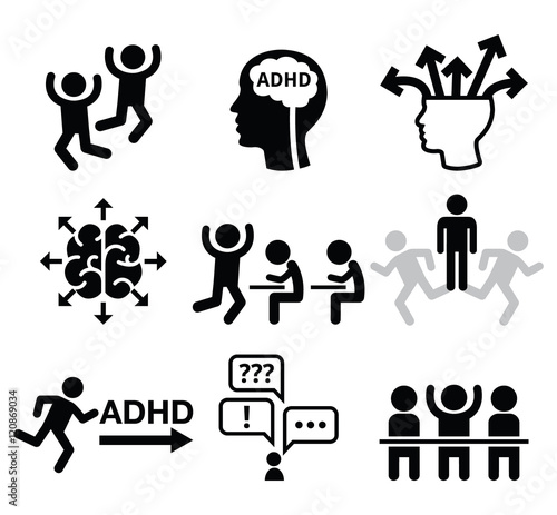 Photo ADHD - Attention deficit hyperactivity disorder vector icons set