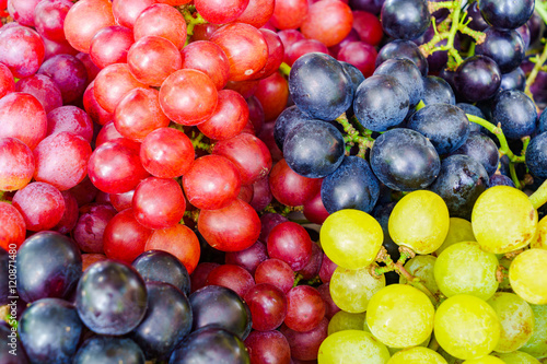 Pile of various kinds of grapes