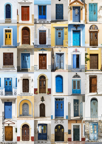 Staande foto Tunesië Collage of 36 colourful front doors from Karpathos.