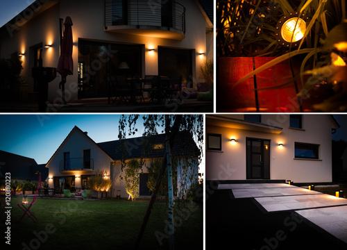 Fotografie, Obraz  Maison individuelle avec éclairage de nuit