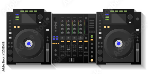 Digital DJ deck, mixer. Vector Fototapet