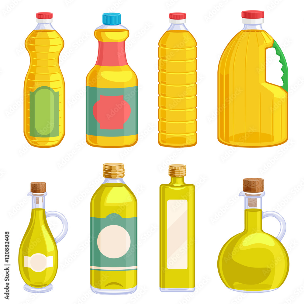 Fototapety, obrazy: Vegetable oil assorted bottles set.