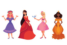 Cute Collection Of Beautiful Princesses, Cartoon Vector Illustration Isolated In White Background. Four Beautiful Princesses In Evening Gowns, Black Skinned And Caucasian, Black, Red And Blond Hair