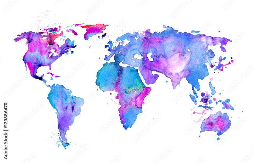 Fotografie, Obraz Watercolor map of the world isolated on white ...