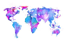 Watercolor Map Of The World Is...