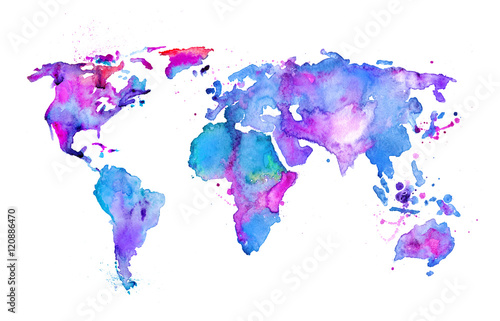 Fotografia  Watercolor map of the world isolated on white
