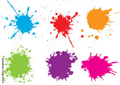 Photo  Colorful paint splatters.Paint splashes set.Vector illustration.