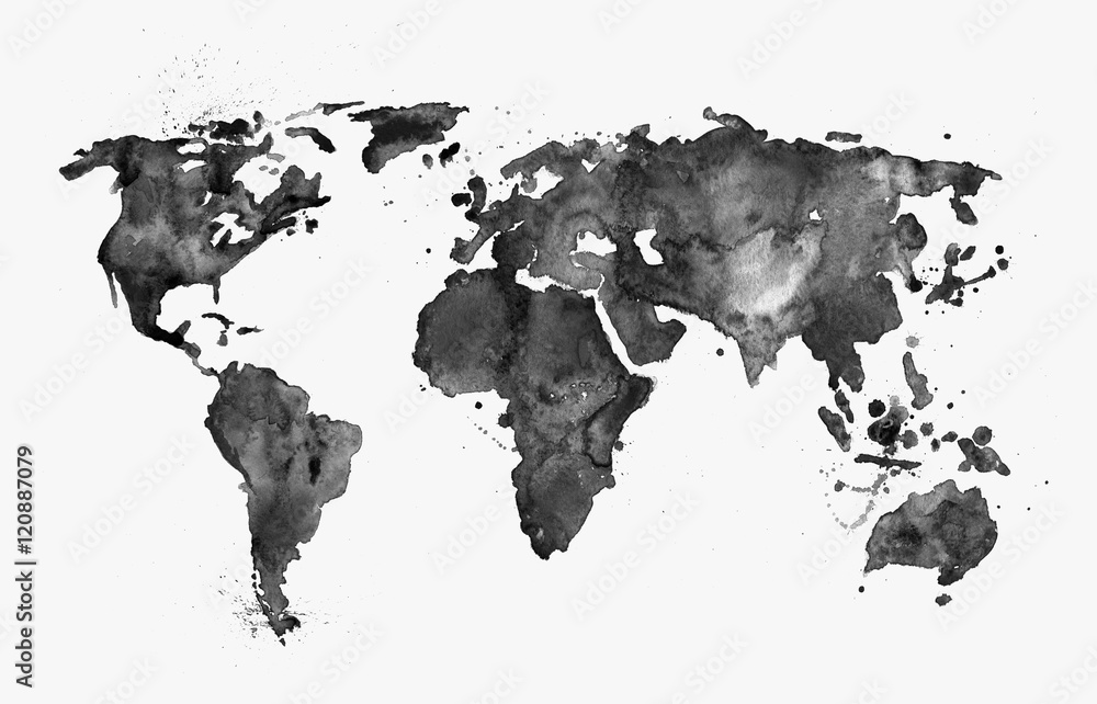 Fototapeta Illustrated map of the world with a isolated background. Black watercolor