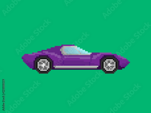 Illustration of purple sport car in pixel art style