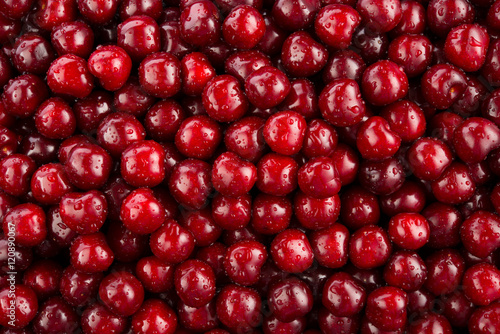 Cherry. Fresh organic berries macro. Fruit background