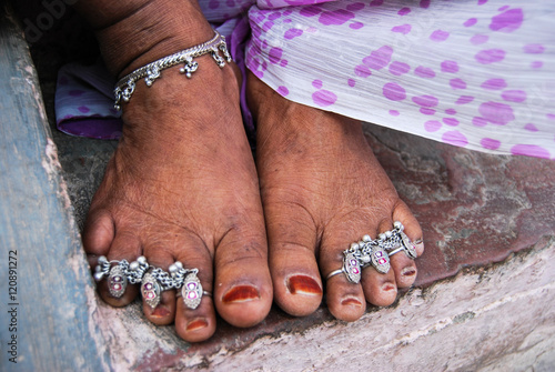 Traditional Indian jewelery for the feet of the women of the village: anklet and Wallpaper Mural