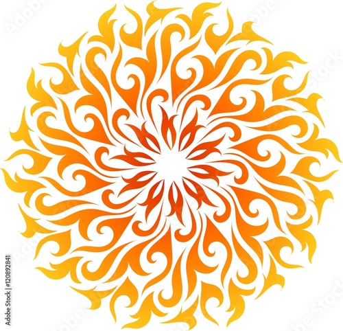 Vector abstract fire mandala. Decorative flame circle Wallpaper Mural