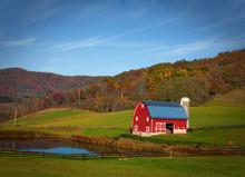Red Barn In West Virginia Moun...