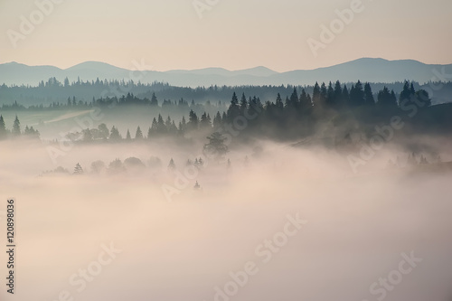 beautiful landscape with mountain veiw and morning fog on sunrise Wallpaper Mural
