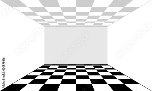 Slika na platnu Empty room and floor in the form of a chessboard. Vector