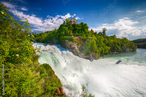 View to Rhine falls (Rheinfalls), the largest plain waterfall in Europe. It is located near Schaffhausen, between the cantons of Schaffhausen and Zurich