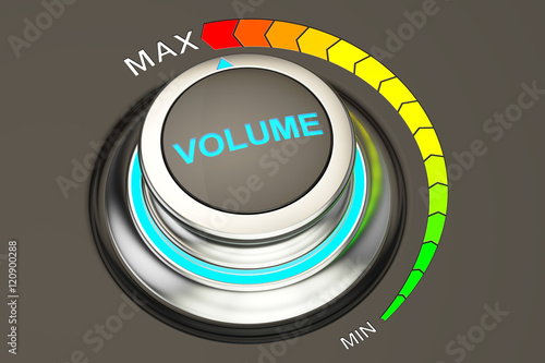 Photo  volume knob, max level of volume. 3D rendering