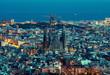 canvas print picture Barcelona skyline, Spain