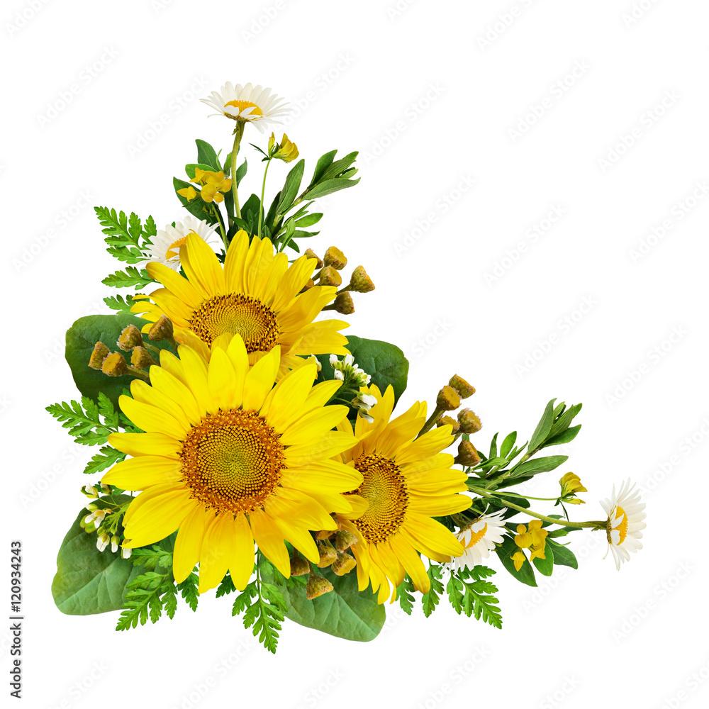 Sunflowers and wild flowers in a corner arrangement
