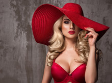 Beautiful Young Woman Wearing Summer Red Hat With Large Brim