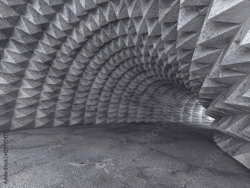 Abstract Concrete Architecture Tunnel With Light Background