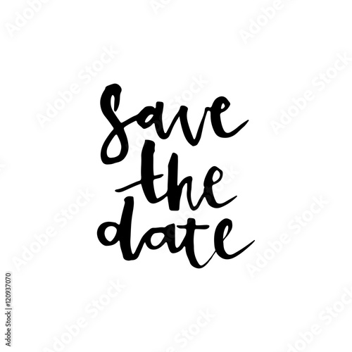 Save the date card, hand drawn lettering. Canvas