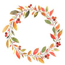 Autumn Leaves Watercolor Decorative Wreath