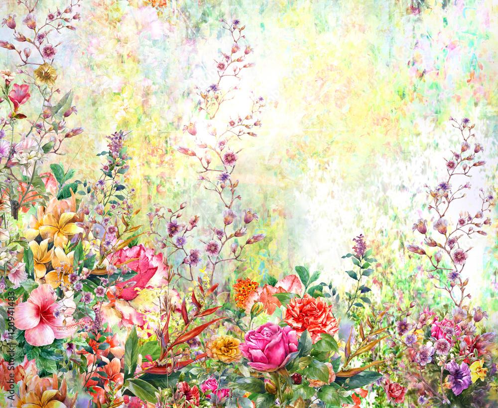 Fototapety, obrazy: Wiosenne wielokolorowe kwiaty, akwarela
