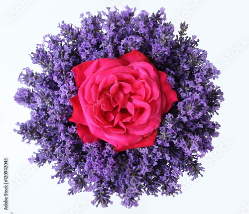 Top View Of Bouquet Of Lavender Flowers And Pink Rose On A White