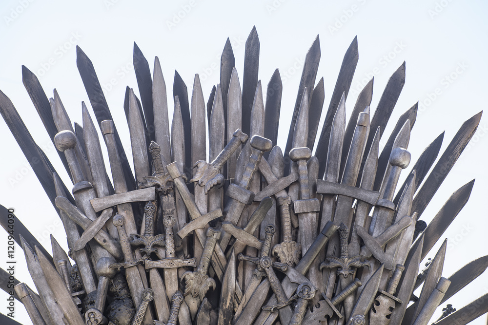 Art, royal throne made of iron swords, seat of the king, symbol