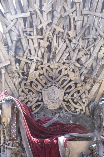 royal throne made of iron swords, seat of the king, symbol of po Tablou Canvas