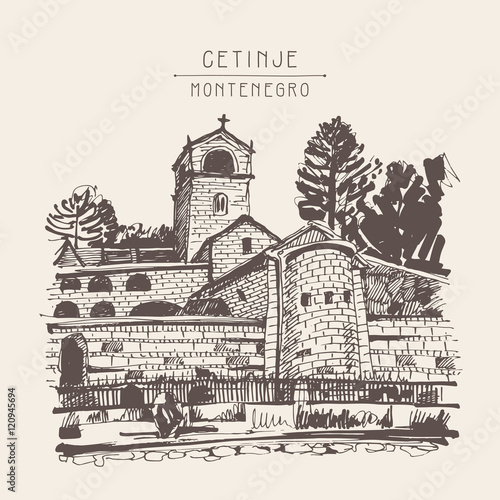 sepia hand drawing of Cetinje monastery - ancient capital in Mon Fototapeta