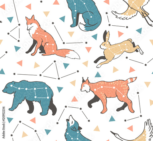 Cotton fabric Seamless pattern with star animals. Vector hipster background with star sky. Fashion design for fabric, wallpaper or gift wrap.