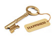 canvas print picture - Key to Happiness concept - Golden key with happiness tag isolated on white. 3d illustration