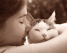 Happy Teen Girl With Cat Close Up Photo