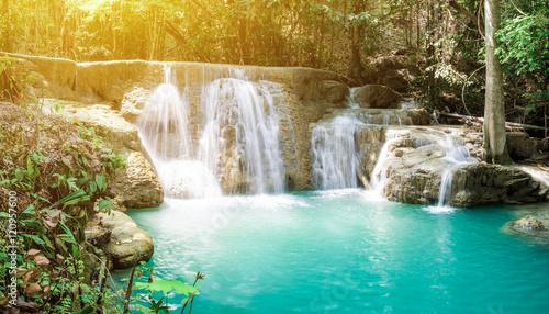 Fototapeten Forest river Waterfall tropical rain forest scenic sunlight at huai mae khamin national park, kanchanaburi, thailand