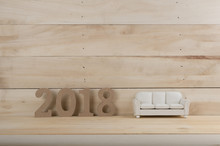 Wooden 2018 Year Number On Wooden Background