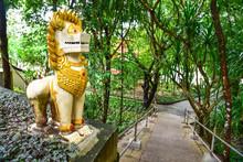 Singha Guardian Statue At Wat Hin Mak Peng In Nong Khai Province, Thailand
