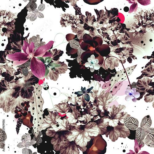 Foto op Canvas Bloemen Abstract floral seamless pattern design